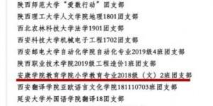 """安康学院小学教育专业2018级2班团支部获""""全国高校活力团支部"""""""