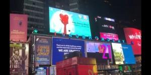 西安欧亚学院国际艺术硕士预科学生公益海报作品登录纽约时代广场