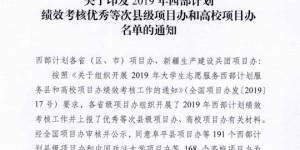 西安翻译学院喜获西部计划全国高校优秀项目办荣誉称号